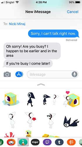 iOS 11 iMessage App Picker