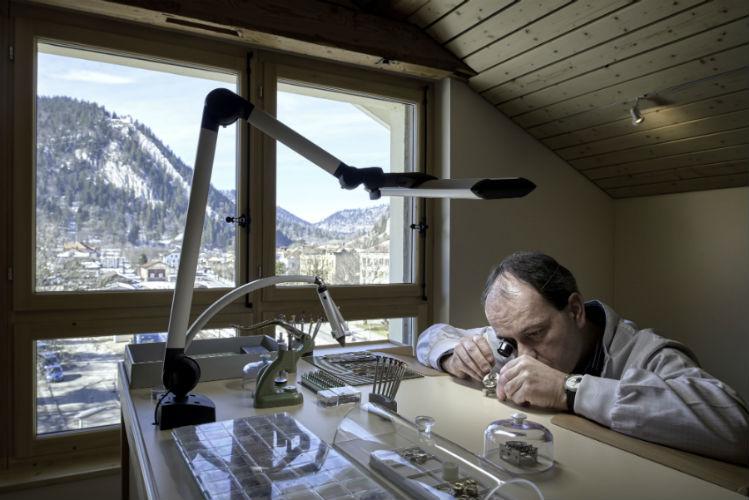 Watchmaker working on Chronométre Ferdinand Berthoud 1.3
