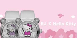 Romain Jerome X Hello Kitty super sparkle and normal version on pink background