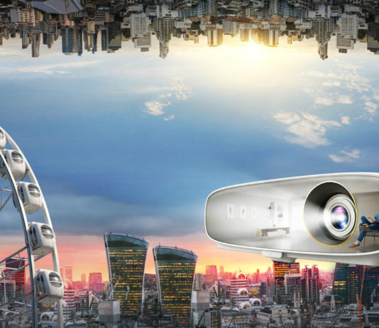 BenQ CineHome W1700 with cityscape background