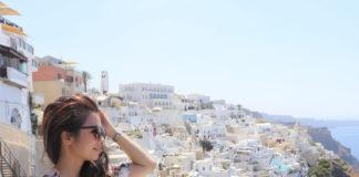 Ash staring into Santorini view