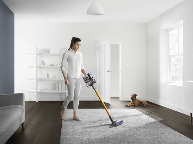 Woman Using Dyson V8 Cord-free vacuum cleaner on carpet
