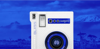 Lomo'Instant Automat Glass Kilimanjaro on blue background