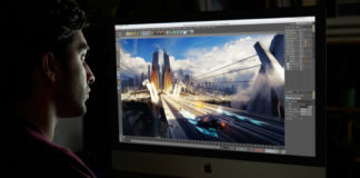 Man using Apple's new iMac Pro