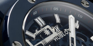 Hublot Big Bang Meca-10 Blue Ceramic closeup on dial