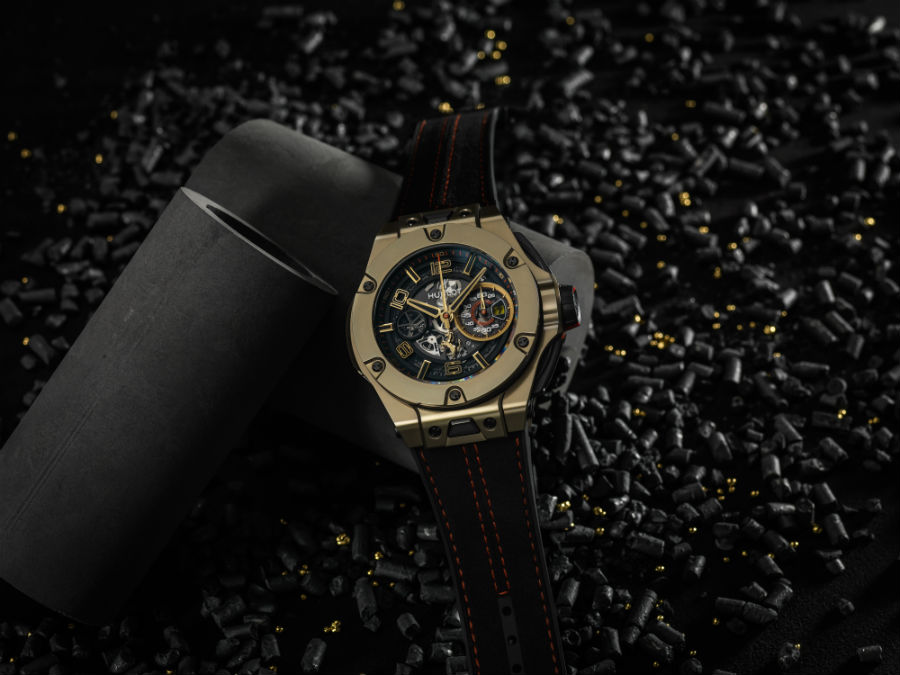 Hublot Big Bang Ferrari Magic Gold on black background