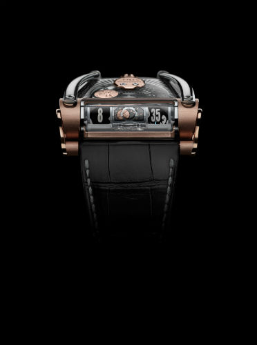 MB&F MoonMachine 2 in rose gold and titanium, front view