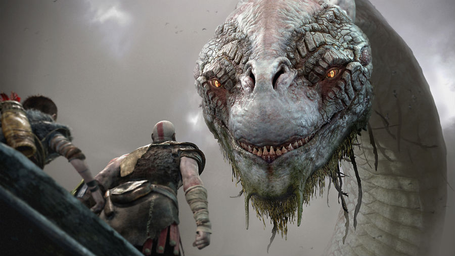 Kratos talking to a monster
