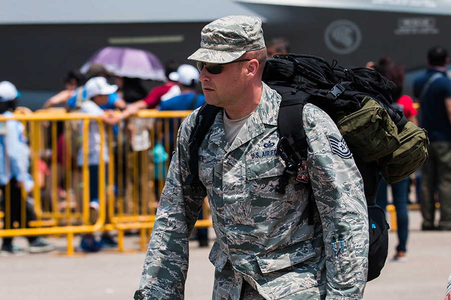 Man from USAF with backpack
