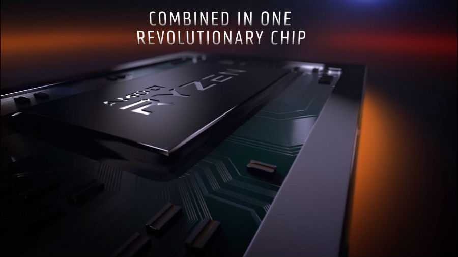 closeup on AMD APU with focus on chip