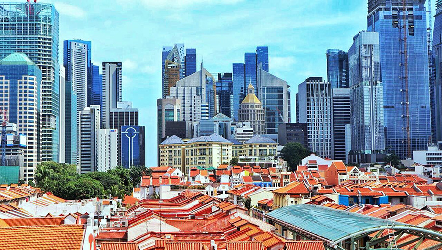 Singapore's cityscape from Chinatown