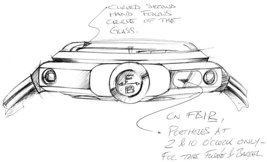 Sketch of Chronometre FB-1R.6-1 porthole design