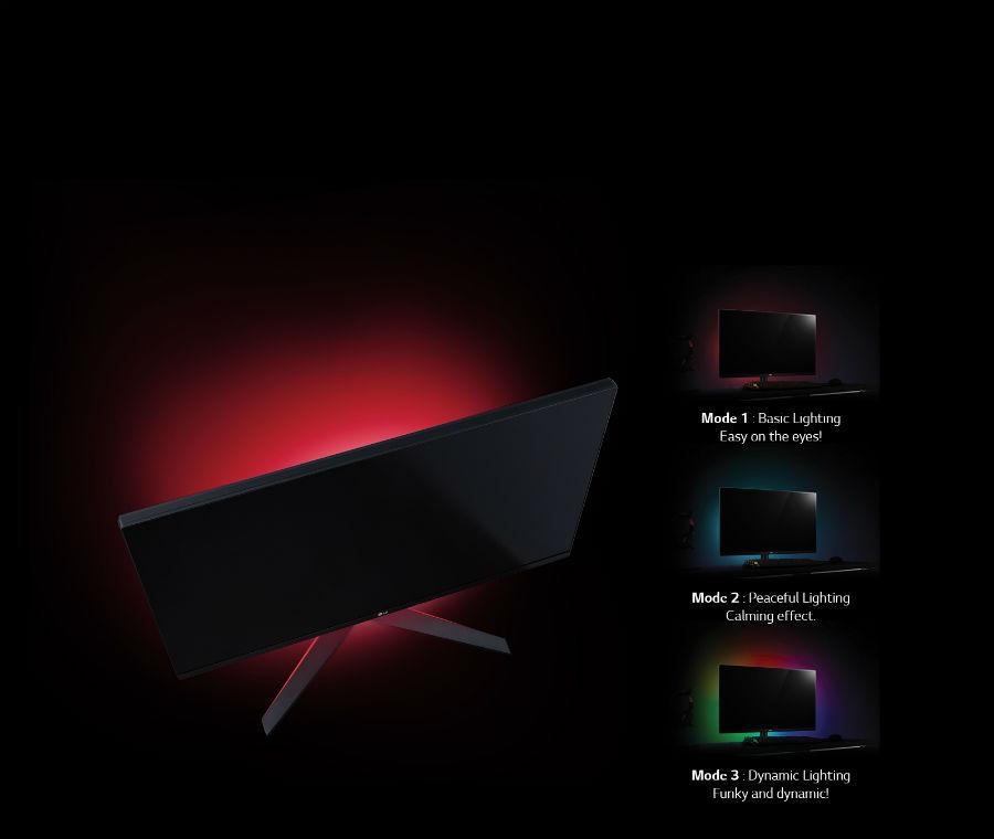 LG 32GK850G showing multicoloured backlights