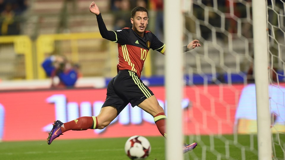 Belgium's Eden Hazard celebrating