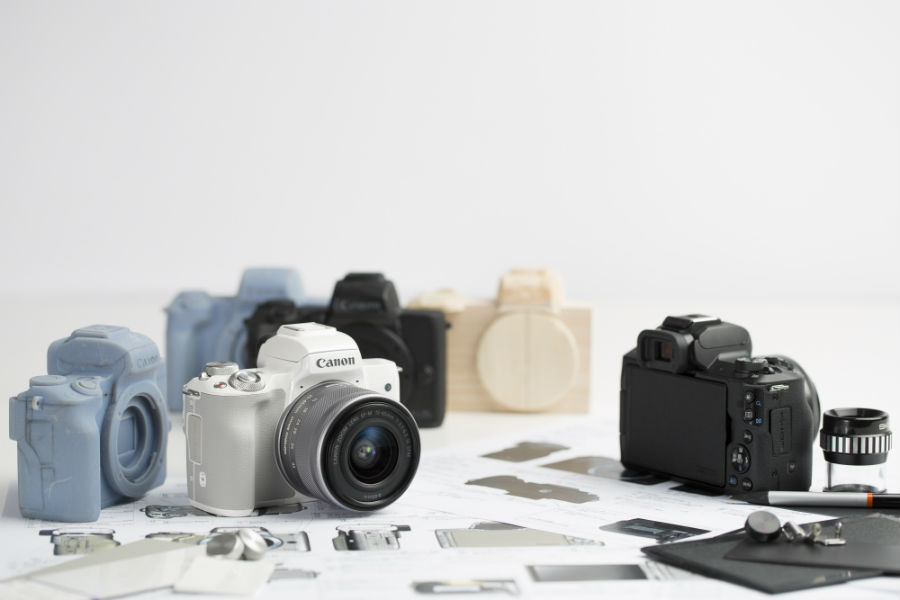 Canon EOS M50 in black nad white with camera models