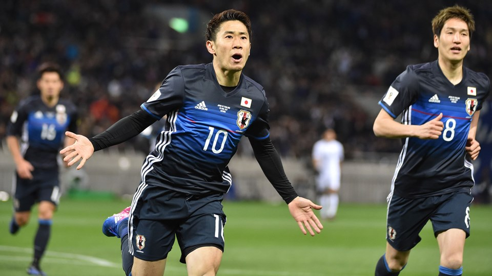 Japan's Shinji Kagawa celebrating a goal