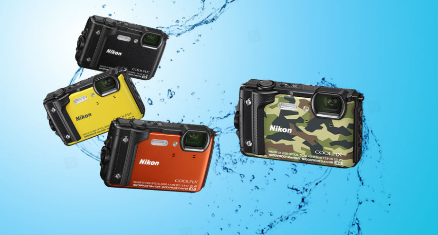 Nikon W300 in various colours in water