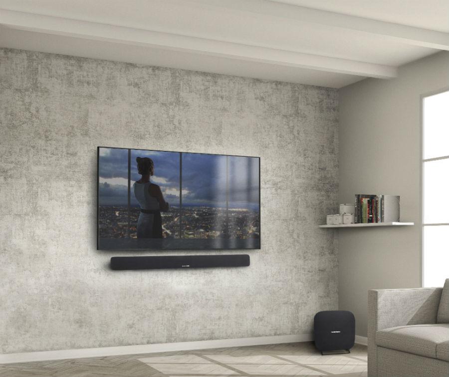 Harman Kardon Omni Bar on wall with TV