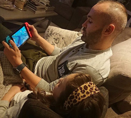Andres Iniesta playing on Nintendo Switch