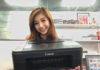Vanessa holding the Canon PIXMA E3170