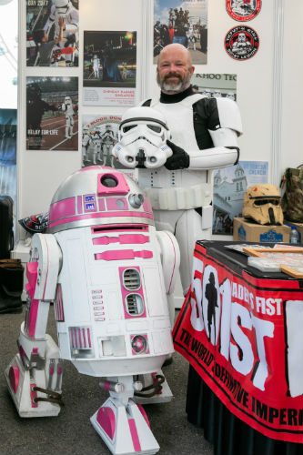 Albin Johnson and his special pink astromech droid
