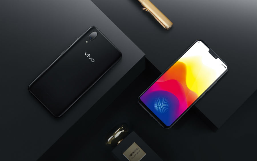 Vivo X21 front view and back view with perfume bottle