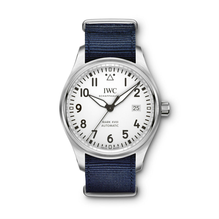 IWC Schaffhausen Pilot's Watch Mark XVIII with grey strap with blue trim