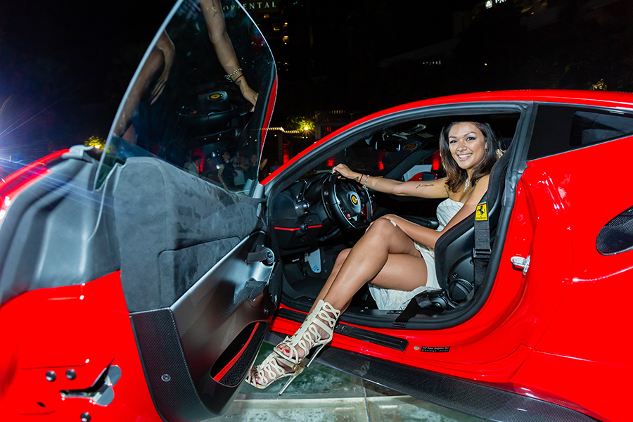 DJ Victoria in the Ferrari 488 Pista