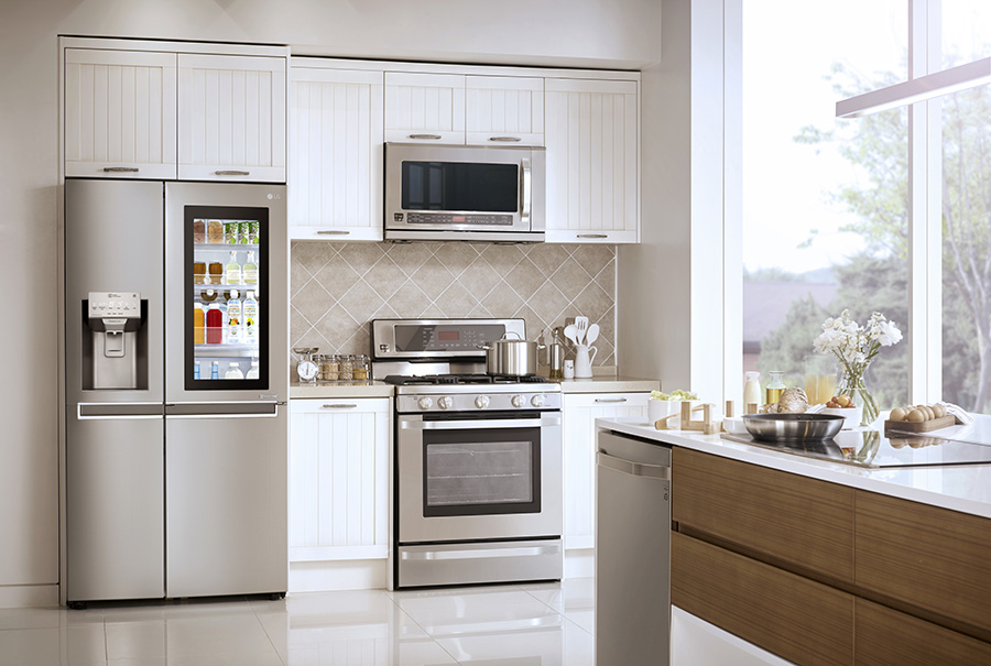 LG Side-by-Side Refrigerator with InstaView Door-in-Door in a kitchen