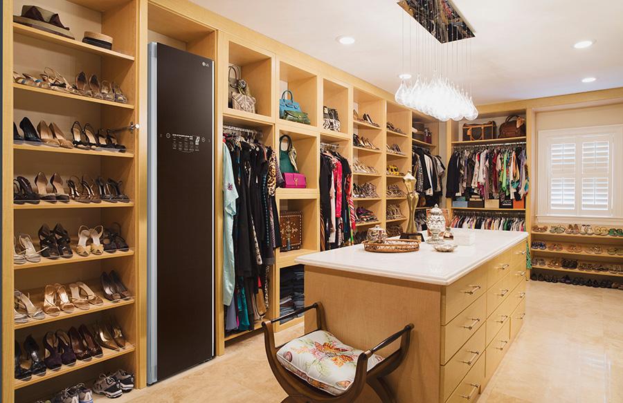 The LG Styler in a walk-in wardrobe
