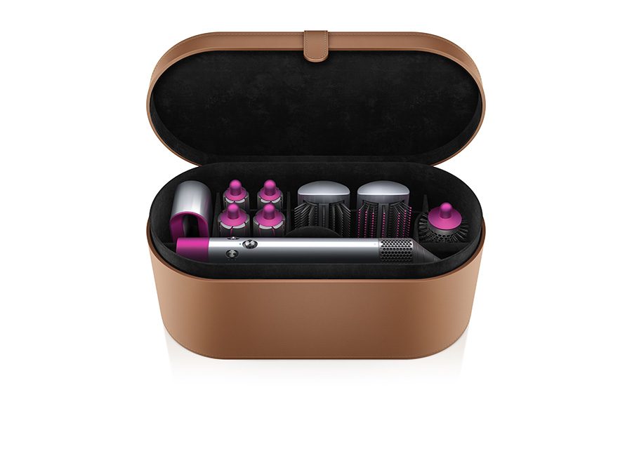The Dyson Airwrap Styler complete package, with PU leather tan box, and all of the accessories included