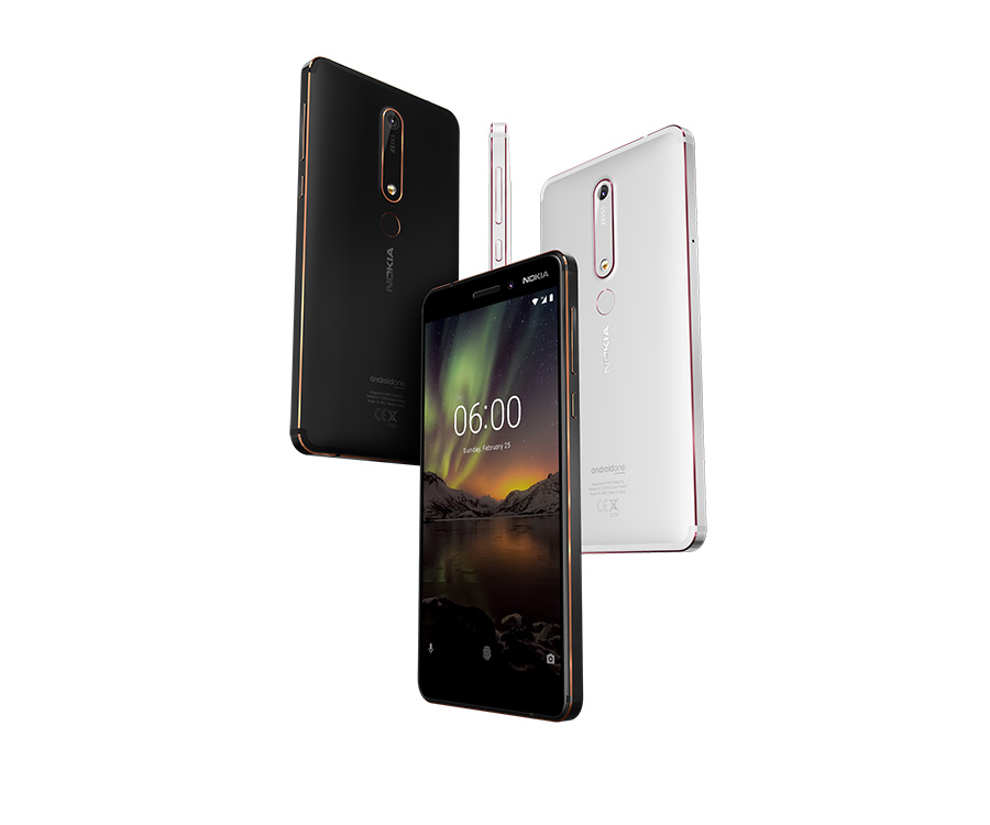 Nokia 6.1 in black and white