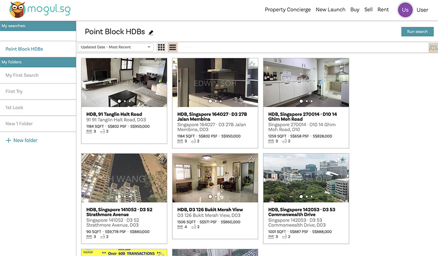 Checking previous searches on Mogul.sg