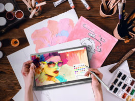 LG gram 2-in-1 being used for art