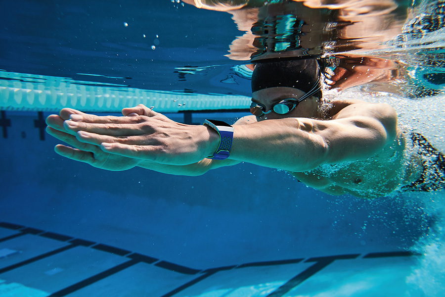 Swimming Outdoors with Ionic Cobalt/Lime Sport Band