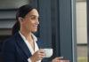 Jabra Evolve 65t earbuds on a female model