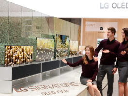 LG SIGNATURE OLED TV R on display at a booth