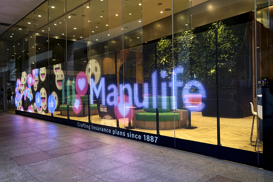 LG Color Transparent LED Film at Manulife Tower featuring emojis