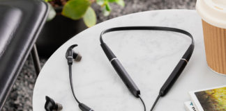 Jabra Evolve 65e wireless neckband earbuds on a table