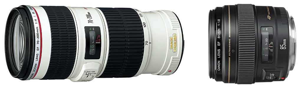 Canon EF 70-200mm f-4L IS USM and Canon EF 85mm f-1.8 USM