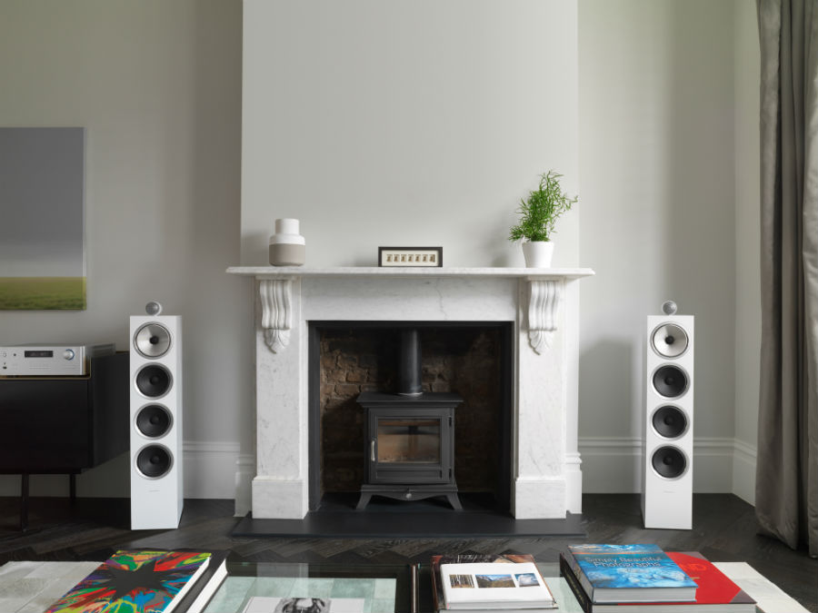 bowers & wilkins 702 S2 setup in white with fireplace