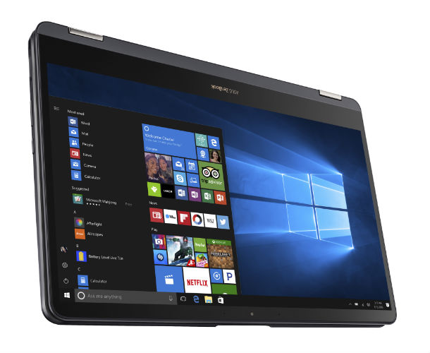 ASUS ZenBook Flip S UX370 in tablet mode, with screen in front