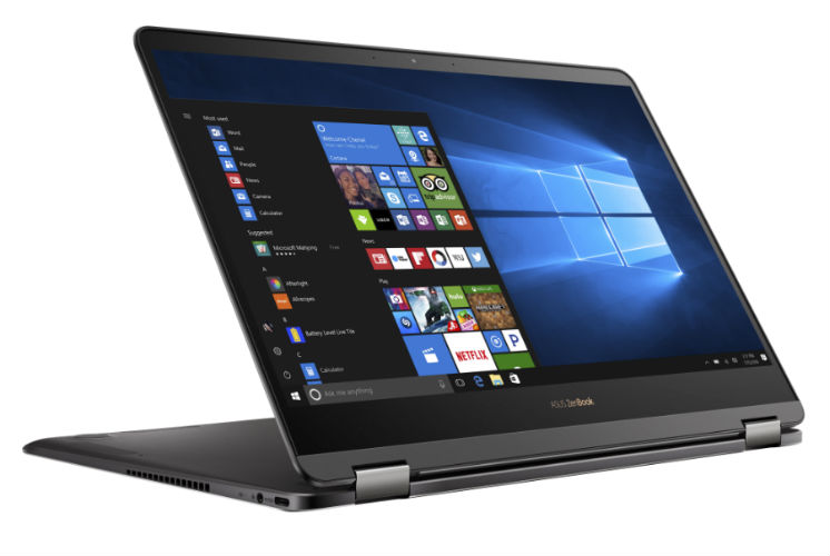 ASUS ZenBook Flip S UX370 in theater mode, with screen in front