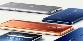 Nokia 8 phones in blue, copper, and steel
