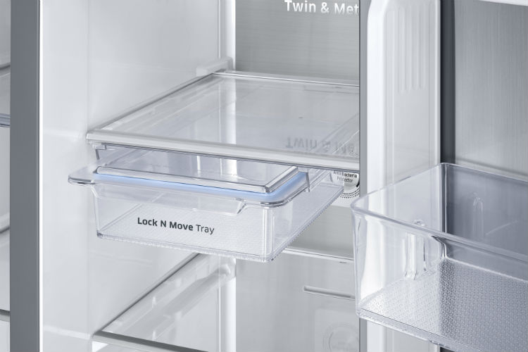 Samsung Twin Cooling Food Showcase Refrigerator Side by Side close up on shelves