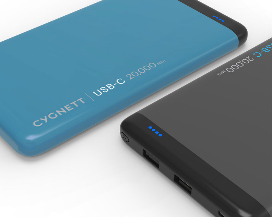 Cygnett USB-C 20K ChargeUp Pro Power Bank in blue and black