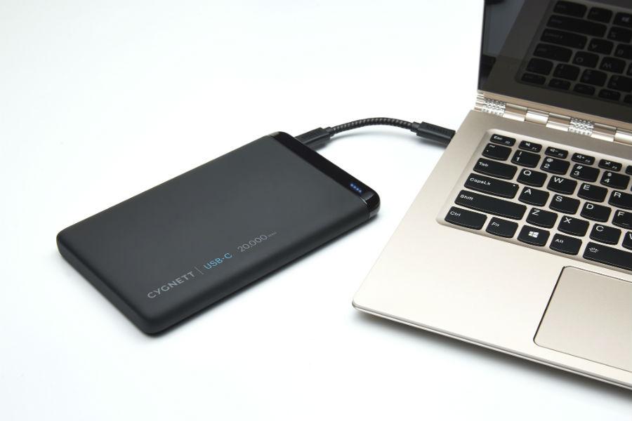 Cygnett USB-C 20K ChargeUp Pro Power Bank charging laptop