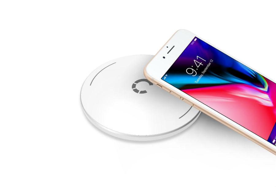 iPhone on Cygnett PowerBase Wireless Desk Charger
