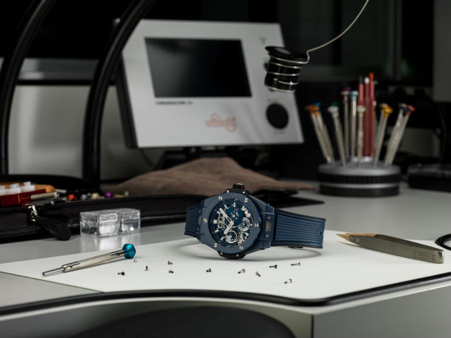 Hublot Big Bang Meca-10 Blue Ceramic on table