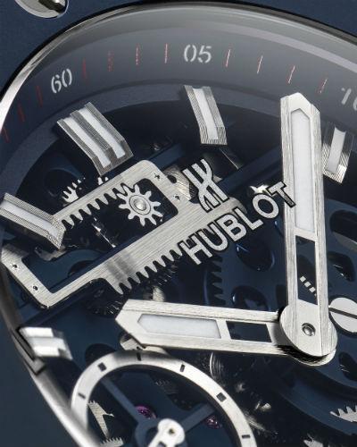Hublot Big Bang Meca-10 Blue Ceramic closeup on dial